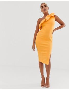 asos-design-petite-one-shoulder-bubble-midi-bodycon-dress by asos-design