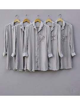 Grey Plaid Bridesmaid Shirts, Grey Checks Boyfriend Shirts , Sleepwear Shirt, Pajama Party Set, Bridesmaids Pajamas, Bridesmaids Gifts by Etsy