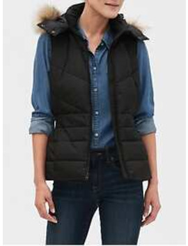 Faux Fur Hood Puffer Vest by Banana Republic Factory