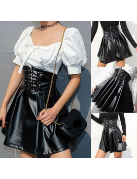 Gothic Punk Women Bandage Pu Leather High Waist Pleated Skirt Party Clubwear Uk by Ebay Seller