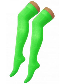 Over The Knee Thigh High Ladies Plain Cotton Lycra Socks Sox Fancy Dress Party by Ebay Seller
