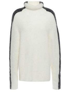 Callahan Two Tone Brushed Ribbed Knit Turtleneck Sweater by Ganni