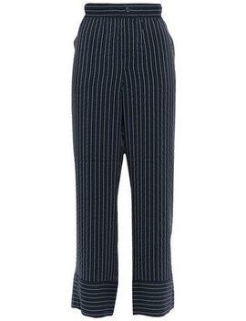 Lynch Pinstriped Silk Blend Seersucker Wide Leg Pants by Ganni