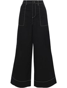 Hewson Cotton Blend Wide Leg Pants by Ganni