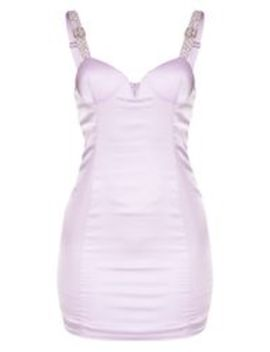 Lilac Satin Embellished Buckle Strap Bodycon Dress by Prettylittlething