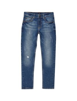 Boys Dark Blue Ripped Sid Skinny Jeans by River Island