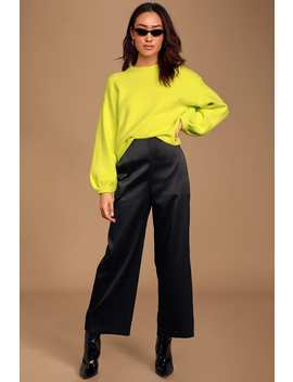 Catching Feelings Black Satin High Waisted Cropped Pants by Lulus
