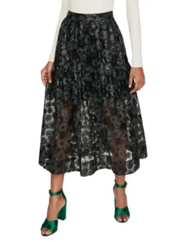 Jizia Sequin Embellished Midi Skirt by Maje