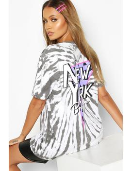 Tie Dye Back Print New York T Shirt by Boohoo