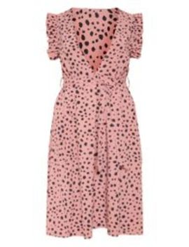 Blush Dalmatian Print Frill Tie Midi Dress by Prettylittlething