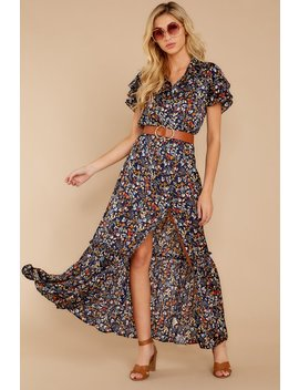 Brunch With Me Navy Floral Print Maxi Dress by Lovestitch