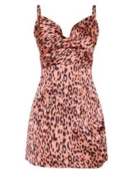 Pink Leopard Print Satin Cowl Ruched Split Bodycon Dress by Prettylittlething