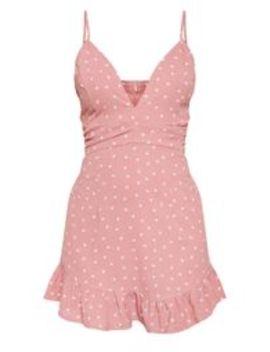 Pink Heart Print Pleated Waist Frill Hem Bodycon Dress  by Prettylittlething