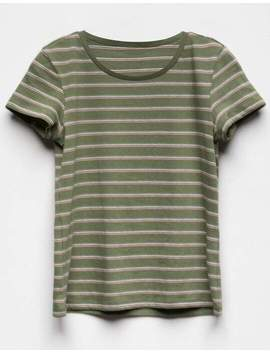 Full Tilt Essentials Stripe Olive Girls Tee by Full Tilt