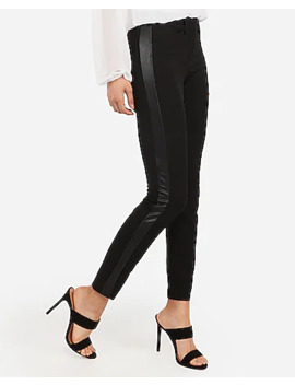 Mid Rise Vegan Leather Side Stripe Skinny Pant by Express