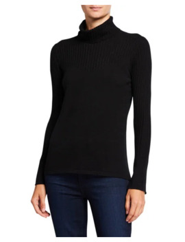 Neiman Marcus Cashmere Collection Cashmere Turtleneck Sweater With Rib Details by Neiman Marcus Cashmere Collection