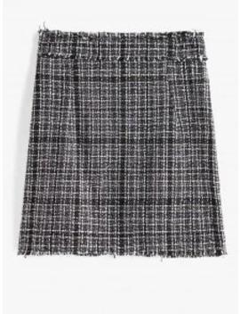 Popular Salezaful Plaid Frayed Back Zipper Tweed Skirt   Black Xl by Zaful