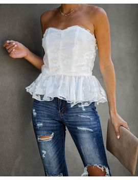 Our Song Strapless Peplum Top   White by Vici