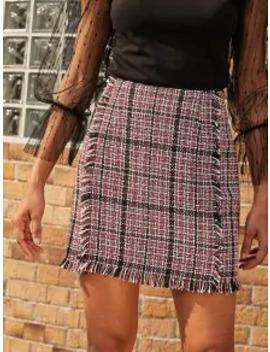 Hot Salezaful Plaid Frayed Tweed Mini Skirt   Ruby Red L by Zaful