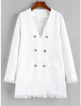 Popular Salezaful Frayed Double Breasted Plunge Tweed Coat   Milk White M by Zaful