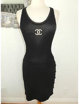 Chanel Knit Black Mini Dress Cc Buttons Tank Body Con Size 36 Worn 1 X Gorgeous by Ebay Seller