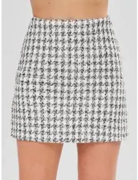 Tweed Mini Plaid Skirt   White M by Zaful