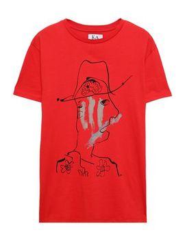 Flocked Printed Cotton Jersey T Shirt by Zoe Karssen