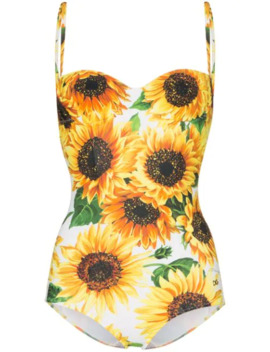 Sunflower Print One Piece Swimsuit by Dolce & Gabbana