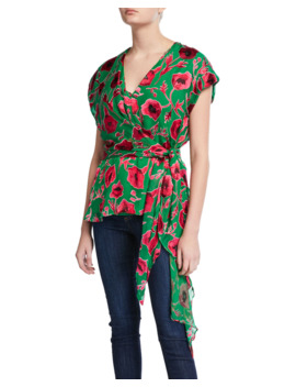 Essie Poppy Print Wrap Top by Alice + Olivia