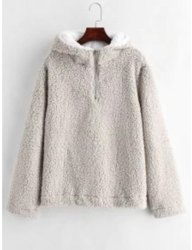 Hot Faux Fur Zipped Fluffy Hoodie   Gray Goose S by Zaful