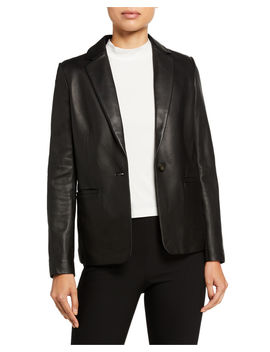 Fitted Leather Blazer by Vince
