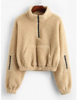 Hot Salezaful Zip High Neck Kangaroo Pocket Teddy Sweatshirt   Light Khaki S by Zaful