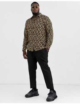 asos-design-plus-regular-fit-shirt-in-monogram-print by asos-design