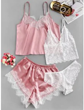 Lace Insert Satin Four Pieces Pajama Set   Pink S by Zaful