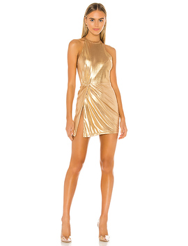 Perrie Mini Dress In Gold by Superdown