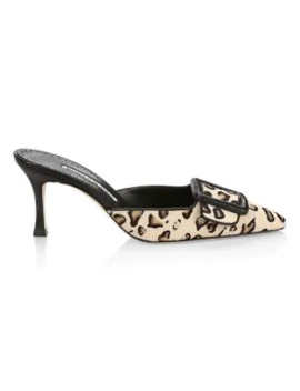 Maysale Leopard Print Calf Hair Leather Mules by Manolo Blahnik