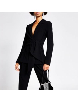 Black Tie Waisted Blazer by River Island