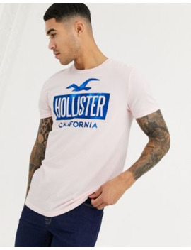 Hollister Iconic Print Logo T Shirt In Pink by Hollister