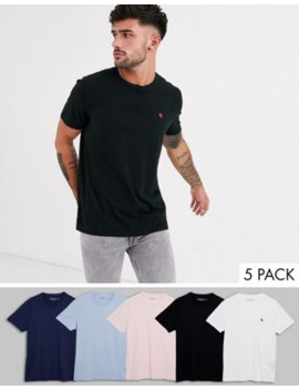 Abercrombie &Amp; Fitch 5 Pack Icon Logo Crewneck T Shirt In White/Navy/Pink/Black/Light Blue by Abercrombie & Fitch