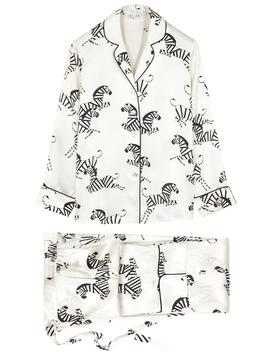 Lila Zebedee Ivory Zebra Print Pyjama Set by Olivia Von Halle