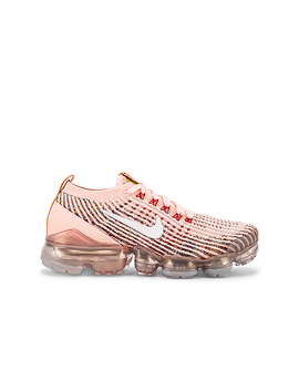 Air Vapormax Flyknit 3 Sneaker In Sunset Tint, White, Blue Force & Gym Red by Nike