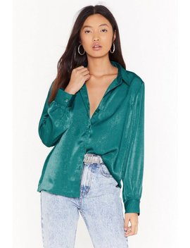 Brushed Satin Oversized Sleeve Shirt by Nasty Gal