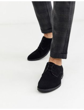 Topman Suede Derby Shoes In Black by Topman