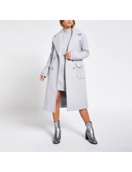 Grey Double Breasted Longline Utility Coat by River Island