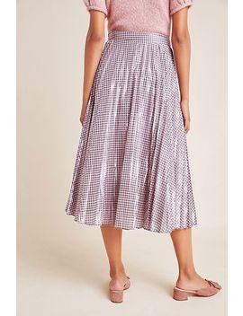 Rowan Pleated Gingham Midi Skirt by Foxiedox