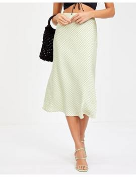 Silky Gingham Midi Skirt by Glassons