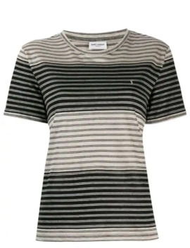 Embroidered Striped Logo T Shirt by Saint Laurent