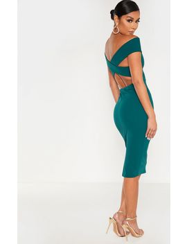 Emerald Green Bardot Cross Back Midi Dress by Prettylittlething