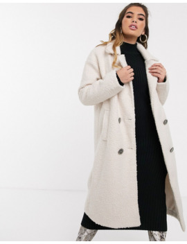 Missguided Double Breated Duster Coat In White by Missguided's