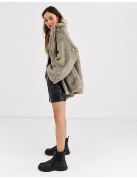 Weekday Tabitha Faux Fur Coat In Gray by Weekday